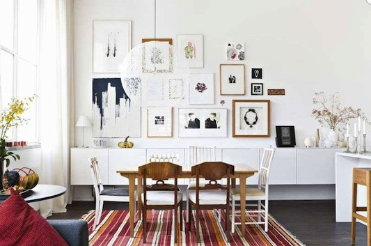 How to master the mix and match art wall for Black n white dining rooms